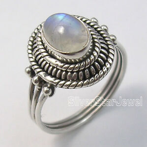 925-Sterling-Silver-Fiery-RAINBOW-MOONSTONE-LADIES-039-VINTAGE-STYLE-Ring-Any-Size