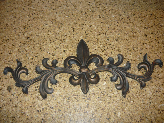 Cast Iron Fleur De Lis Topper Wall Plaque Old World Tuscan French Country