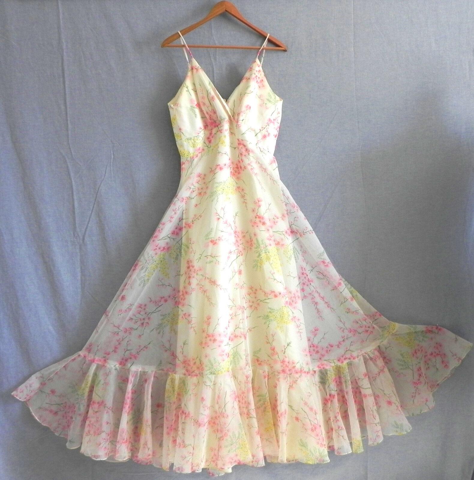 Vtg Cole of Columbus Maxi Dress Floral Spaghetti Strap Empire Waist Size 10