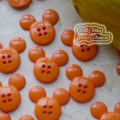 Orange  Mickey Shape 20mm Plastic Buttons Sewing Scrapbooking Collectable Craft