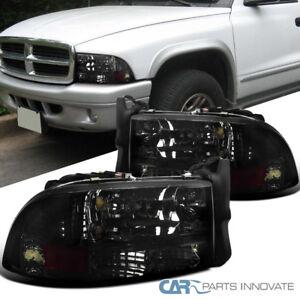 97-04-Dodge-Dakota-Durango-Replacement-Chrome-Smoke-1PC-Headlights-Lamps-Pair