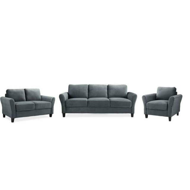 Admirable 3 Piece Sofa Set With Sofa Loveseat And Accent Chair In Dark Gray Pdpeps Interior Chair Design Pdpepsorg
