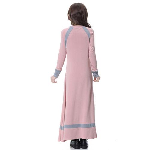 Kid Girls Islamic Muslim Abaya Kaftan Raglan Sleeves Full Length Robe Maxi Dress