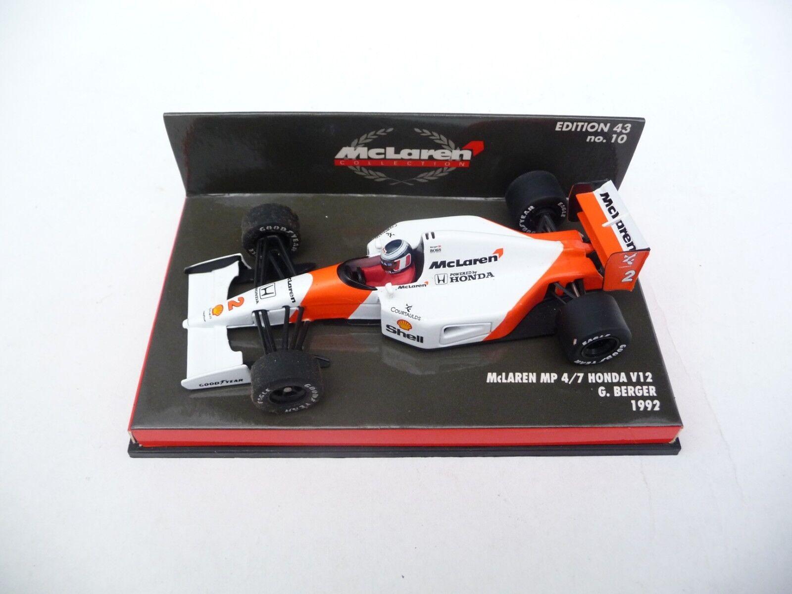 Minichamps 1 43 McLaren MP4 7 Honda V12 1992 Gerhard Berger 924302