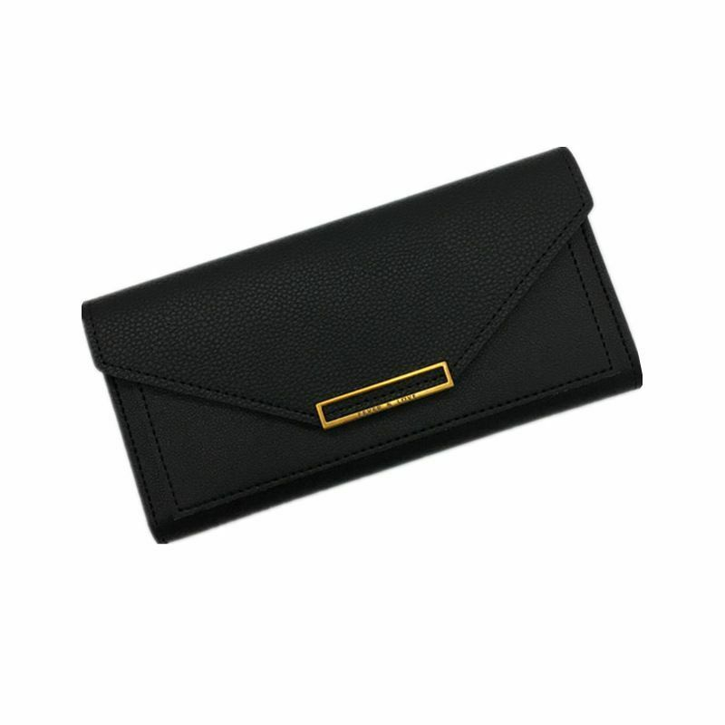 Envelope Design Wallet For Female Hasp Closure Leather Long Money Organizers New