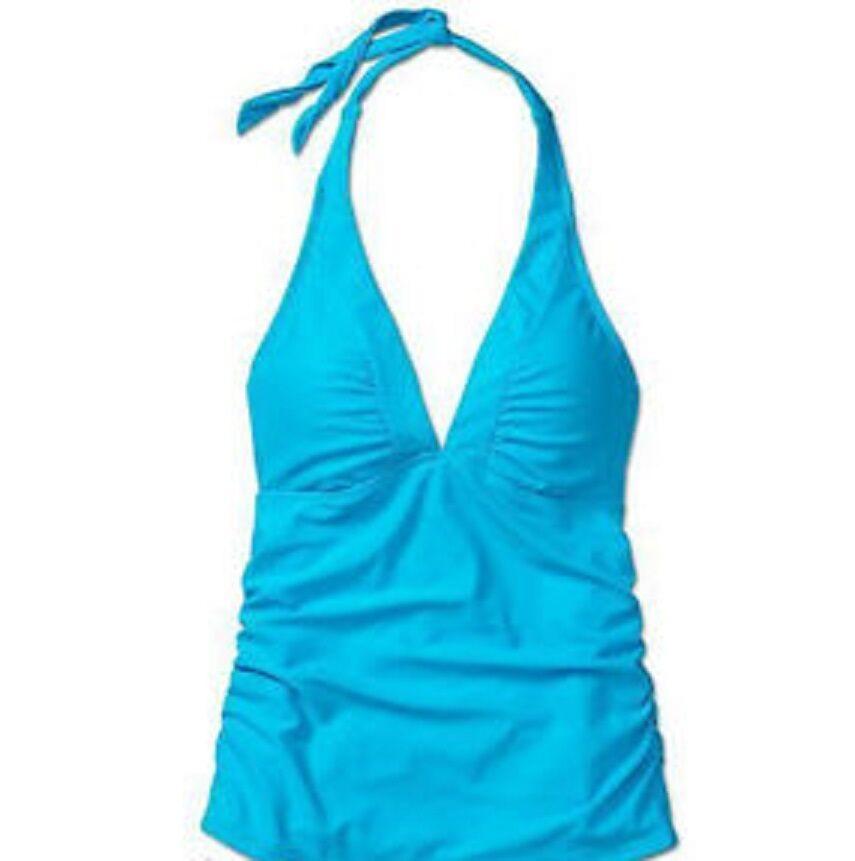 ATHLETA Shirrendipity Halter Tankini NWOT Small, Brilliant bluee, Flattering Fit
