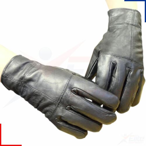 Mens Black 100/% Real Leather Winter Thinsulate Thermal Warm Driving Gloves