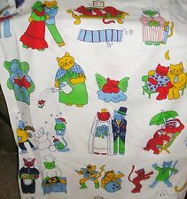 Vtg 3 Yds Fabric Fanciful Cat Activities Pattern Red Green Blue Yellow Cooking