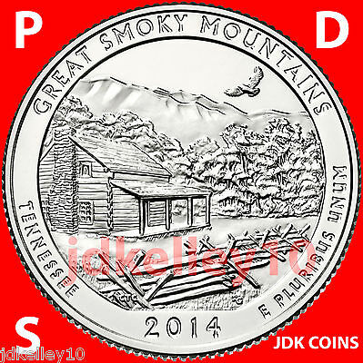 2014 P D S - GREAT SMOKY MOUNTAINS NATIONAL PARK QUARTER UNCIRCULATED US MINT