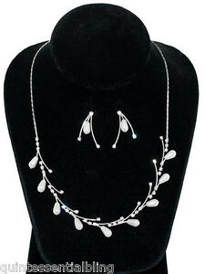 Sp Swarovski Elements White Pearl Crystal Bridal Single Vine Necklace Set Clearance Price Bridal Accessories Clothing, Shoes & Accessories