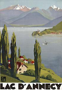 TT46-Vintage-Lake-Annecy-French-France-Travel-Poster-Print-A3-17-034-x12-034-Re-Print