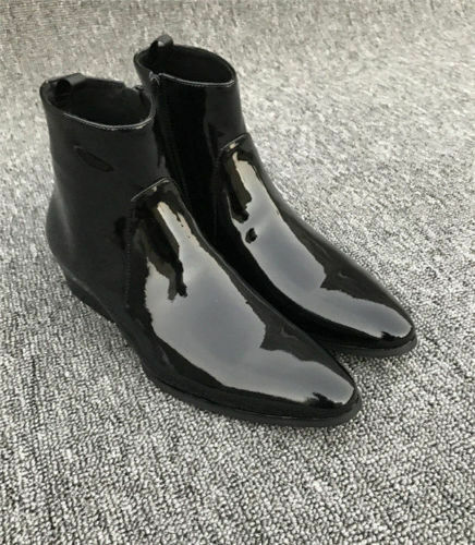 Handmade Mens Patent Leather Boots Black Chelsea Pure Leather Sole Side Zipper