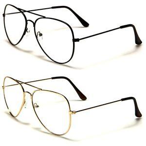 dc5cb25812f New Aviator Sport Thin Wire Rims Men Women Clear Lens Glasses