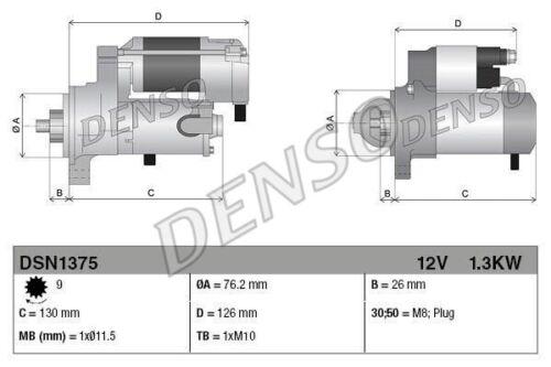 DENSO Anlasser Starter DSN1375 für BMW E90 Z4 E81 X3 E87 E91 E60 E61 E92 3er 5er