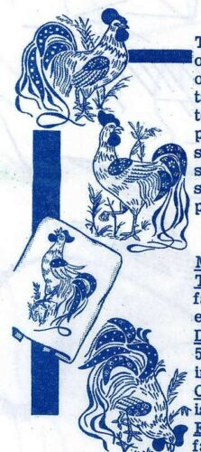 Vintage Embroidery Transfer repo 7005 Four Roosters for Towels Cloths w Applique