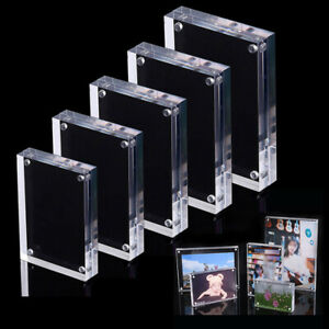 Double-faced-Clear-Crystal-Photo-Frame-Desk-Set-Acrylic-Magnet-Picture