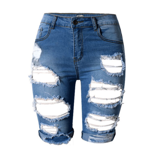 Vintage Women Lady Denim Shorts Stretch Ripped Hole Denim Jeans Pants Hotpants~Y