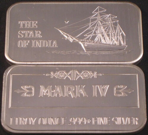 1975 USSC MARK IV REVERSE THE STAR OF INDIA TALL MASTED SAILING SHIP SILVER BAR
