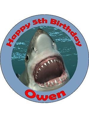 Personalised shark edible icing birthday cake topper