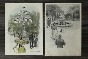 HO4) Holzschnitt 1885-1900 Krolloper Kroll´scher Garten Berlin Candelaber Brunne