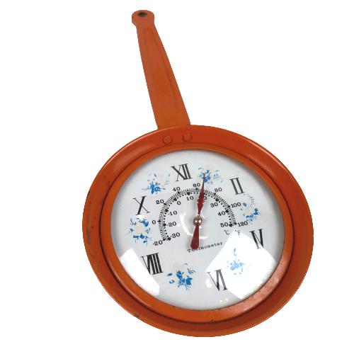 Vintage Retro Kitchen Thermometer Orange Metal Frying Pan Decoration Indoor