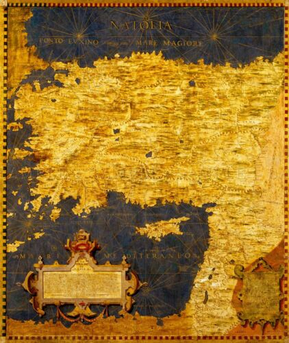 MAP ANTIQUE DANTI GOLD ATLAS TURKEY NEAR EAST LARGE REPLICA POSTER PRINT PAM0876