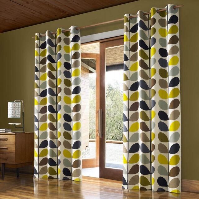 Orla Kiely Multi Stem Pair Lined Eyelet Curtains, Multi Stem duck egg 117x229