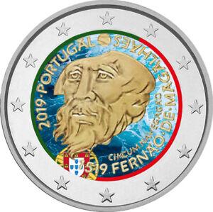 2-Euro-Gedenkmuenze-Portugal-2019-coloriert-mit-Farbe-Farbmuenze-Magellan