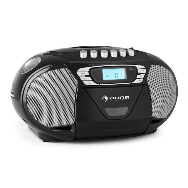 (RICONDIZIONATO) STEREO BOOMBOX RADIO REGISTRATORE PORTATILE NERO CD MP3 USB NUO