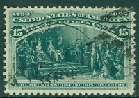 USA : 1893. Sc #238 Used XF stamp w/very deep color, well centered & nice cancel