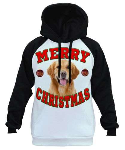 Raglan Holiday Golden Merry Hoodie B1480 Santa Christmas White Retriever Men's XBwa0q0