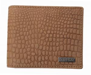 Mens CREATEUR starhide Genuine Soft Leather Rfid Wallet embossed crocodile #1200