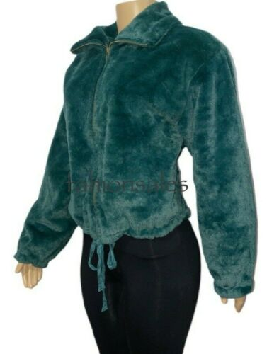 Details about  /Victorias Secret PINK Know One Cares Semi Cropped Faux Fur Jacket Green