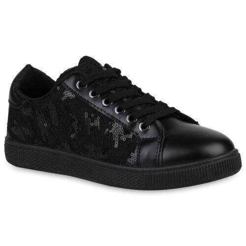 Damen Sneaker Low Pailletten Turnschuhe Leder-Optik Schuhe Spitze 821154 Schuhe