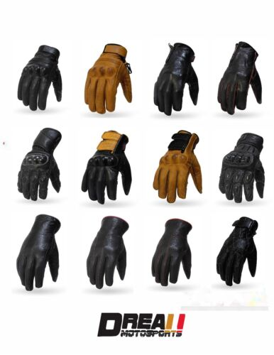 Torc Black Brown Gold Motorcycle Helmet Retro Gloves Goatskin Leather XS-2XL