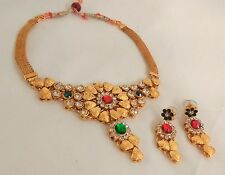 Indian Gold Plated Red and Green Stone Bridal Necklace Earrings Set Jewelry