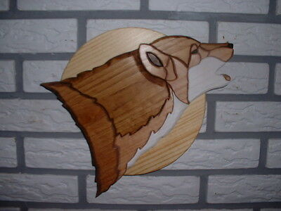 "#21 Handmade wood intarsia wolf approx W 11"" x H 9"""