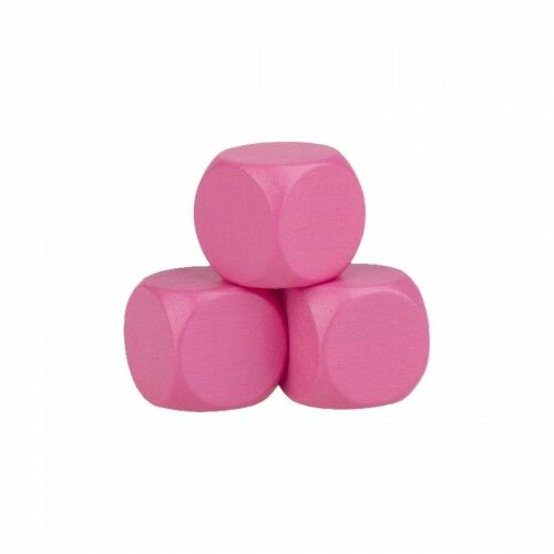 Blank dice - 16mm - Wood - pink