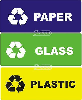 """3 RECYCLE SELF ADHESIVE VYNIL STICKERS """"PAPER - GLASS - PLASTIC""""  WASTE, BIN"""