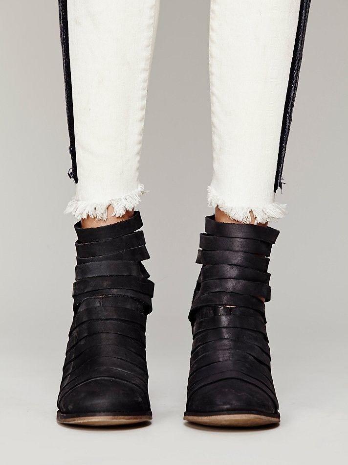 Free People People Free 'híbrido' con tiras de cuero botín nuevo botín negro 41 10 Nuevo En Caja  200 f50fb7