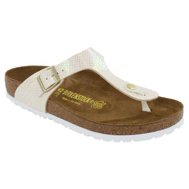 0f8d49705da Birkenstock Gizeh Shiny Snake Cream Womens Birko-Flor Open-Back Toe-post  Sandals