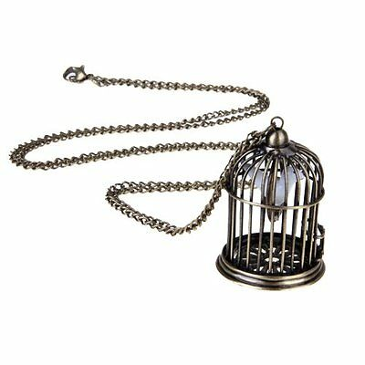 Cfly889 Bird Cage Pendant Necklace