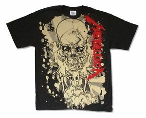 Metallica-Scales-Stain-Pushead-All-Over-Print-Black-T-Shirt-New-Official