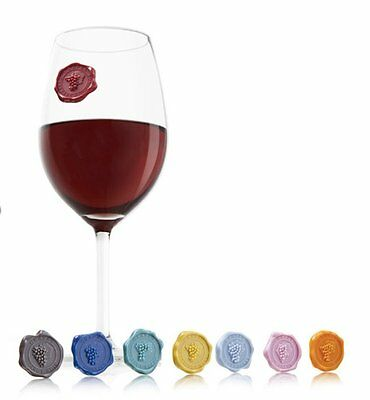 Vacu Vin Classic Grapes Wine Glass & Drink Markers / Charms - Set of 8