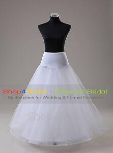White 1 HOOP A Line Bridal Wedding Dress Silps Crinoline Petticoat Underskirt