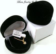 New Black Velvet Velour Jewelry Heart Small Necklace or Earrings Gift Box