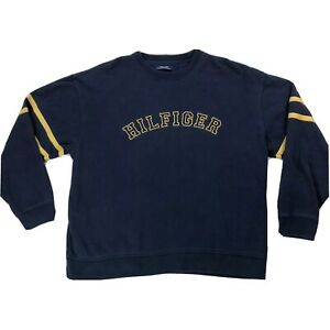 Tommy-Hilfiger-Logo-Spellout-Sweatshirt-Mens-Sz-XXL-Dark-Blue-Yellow-Sweater