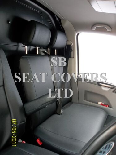 TO FIT A VW TRANSPORTER T5 VAN SEAT COVERS 2013 EBONY BLACK LEATHERETTE