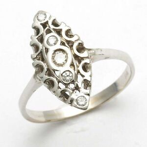 2bcaa985d Image is loading NEW-14k-white-gold-diamond-ring-vintage-Reproduction-