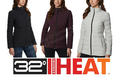 Ladies 32Heat Degrees 4-Way Stretch Water Resistant Quilt Line Light Jacket NWT